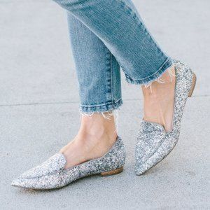 Sole Society Cammila Pointy Toe Glitter Loafer 6